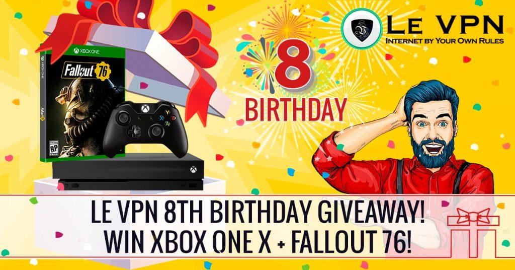 LeVPN fejrer deres 8 års fødselsdag med at udlodde en Xbox One X med Fallout 76